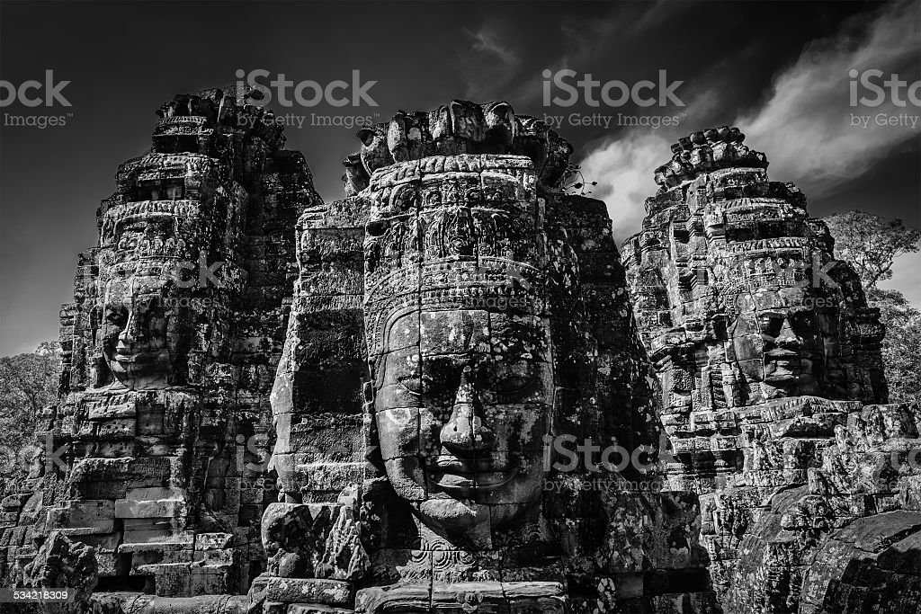 Faces of Bayon temple, Angkor, Cambodia stock photo