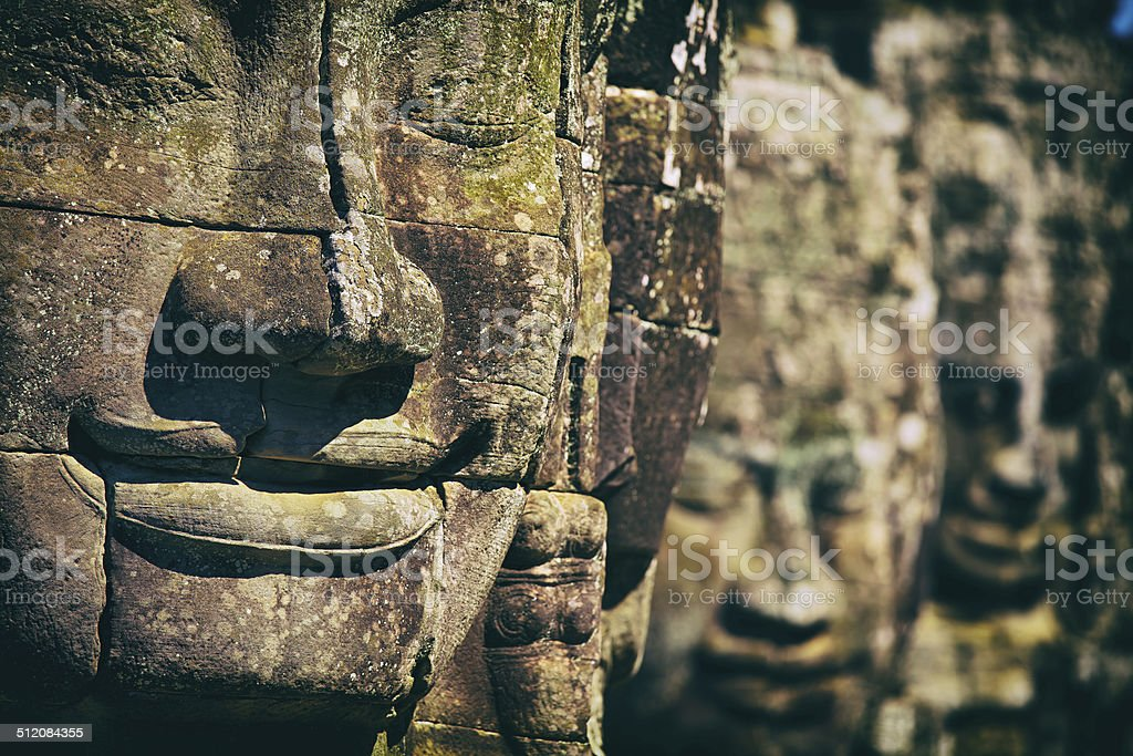 Faces of Bayon Temple, Angkor Thom, Angkor Wat, Cambodia, Asia stock photo
