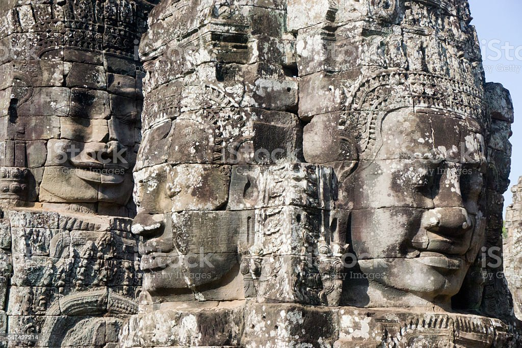 Faces of Bayon Temple in Angkor Thom stock photo