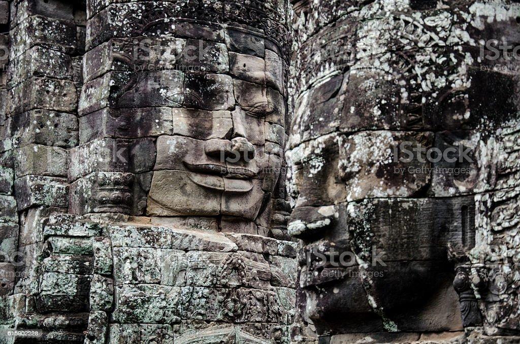 Faces of Bayon Temple stock photo