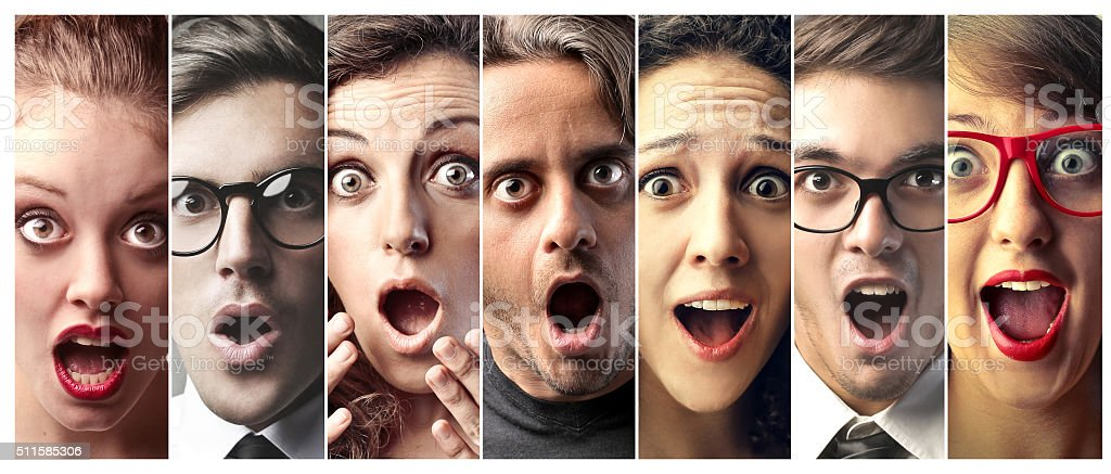 Faces of Disbelief stock photo