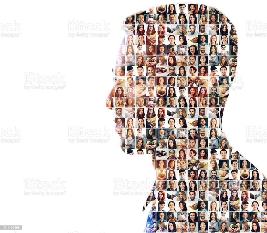 Faces of mankind stock photo