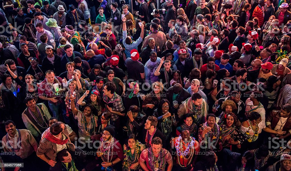 Faces of Mardi Gras (Bourbon Street, New Orleans) stock photo