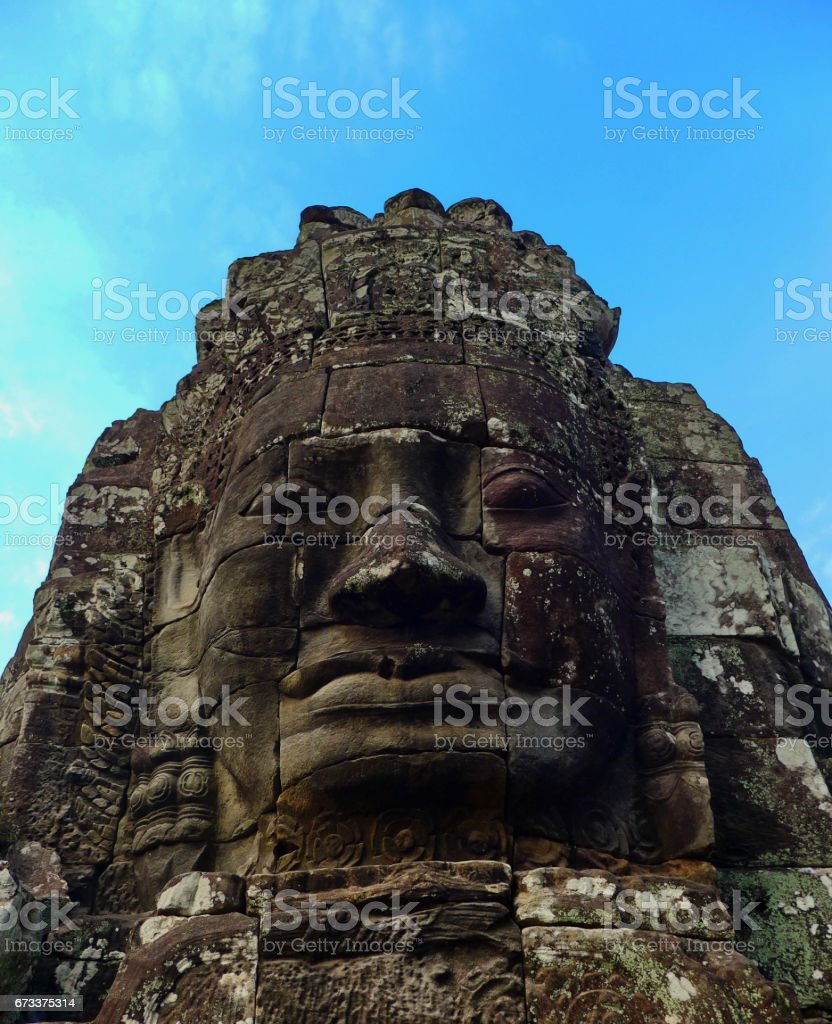Faces of the Bayon temple stock photo