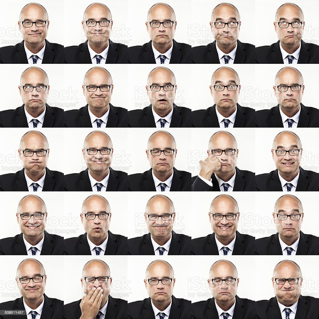 25 faces stock photo