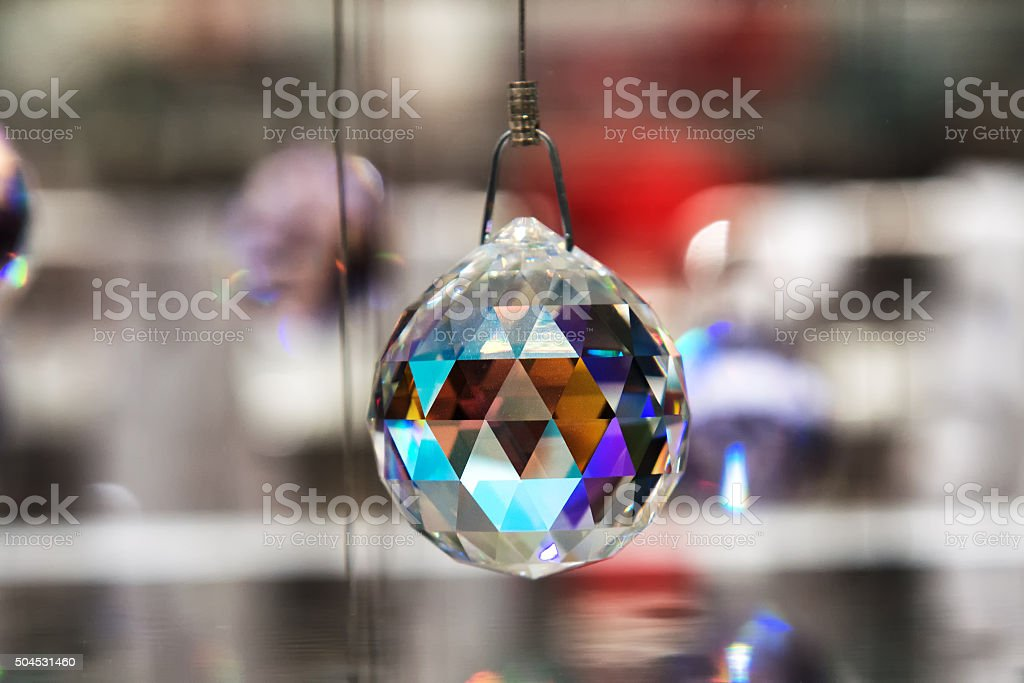 Faceted crystal hanging ball stock photo