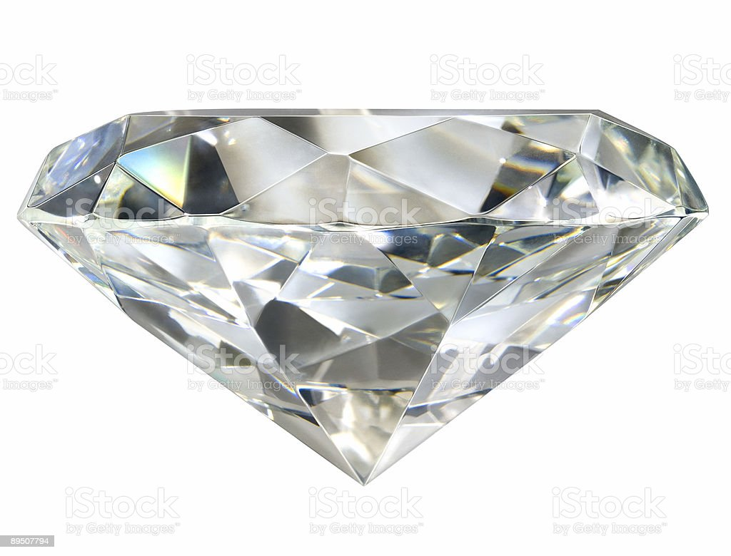 Faux Diamond Profile Isolated With Path on White stock photo