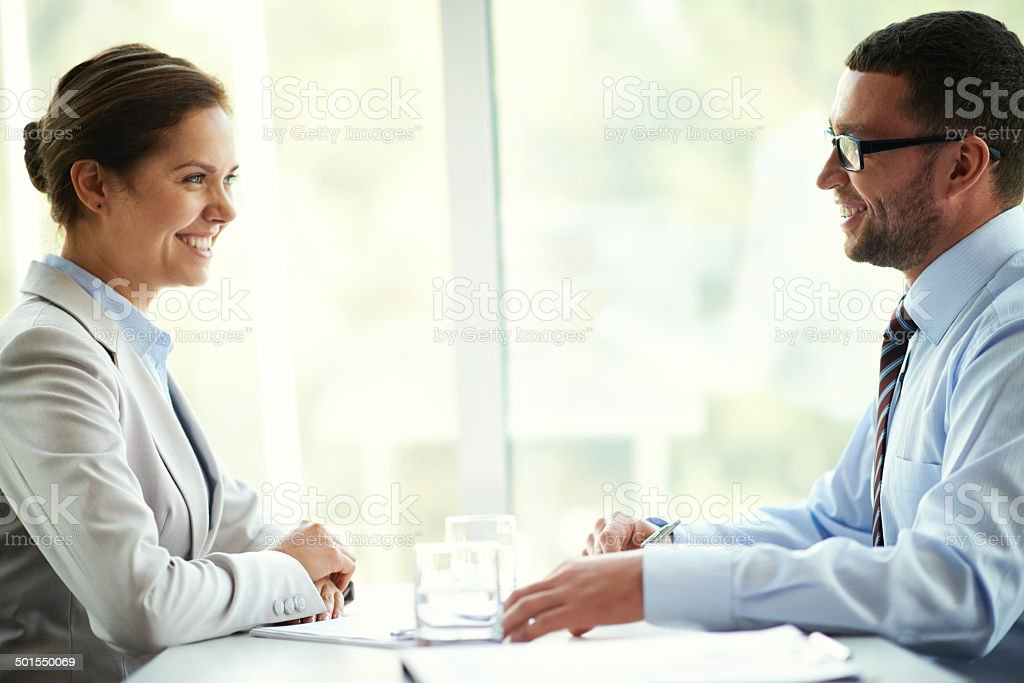 Face-to-face meeting royalty-free stock photo