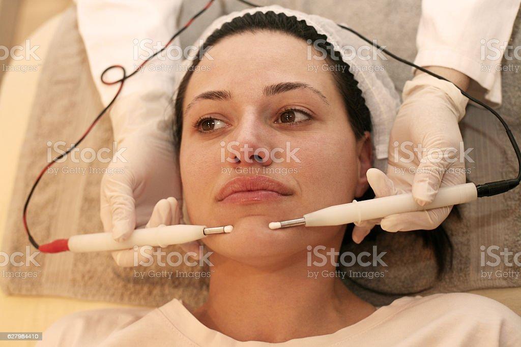 Facial beauty treatment. stock photo