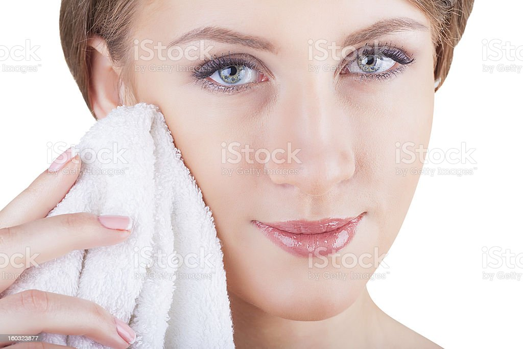 Facial cleansing royalty-free stock photo
