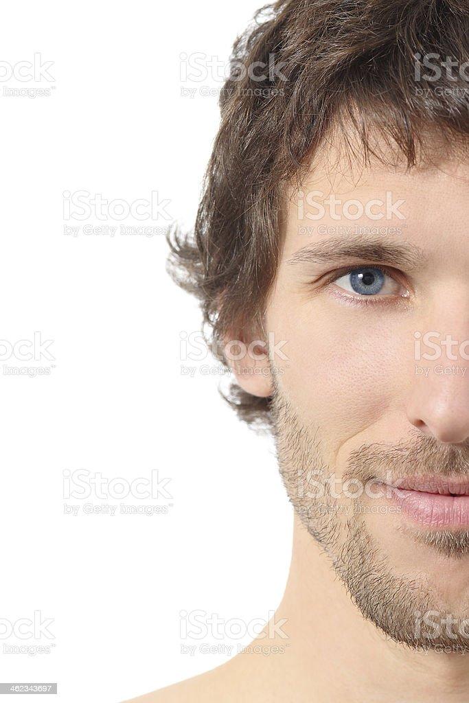 Facial close up of a half attractive man face stock photo
