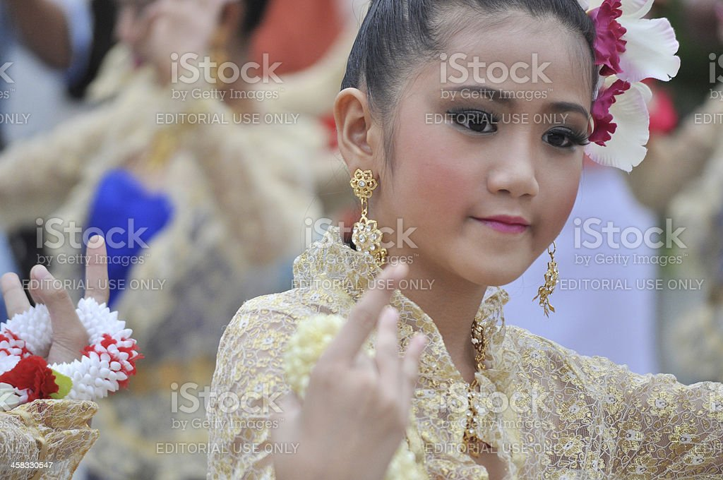 facial closeup of teenage female dancer in Thailand royalty-free stock photo