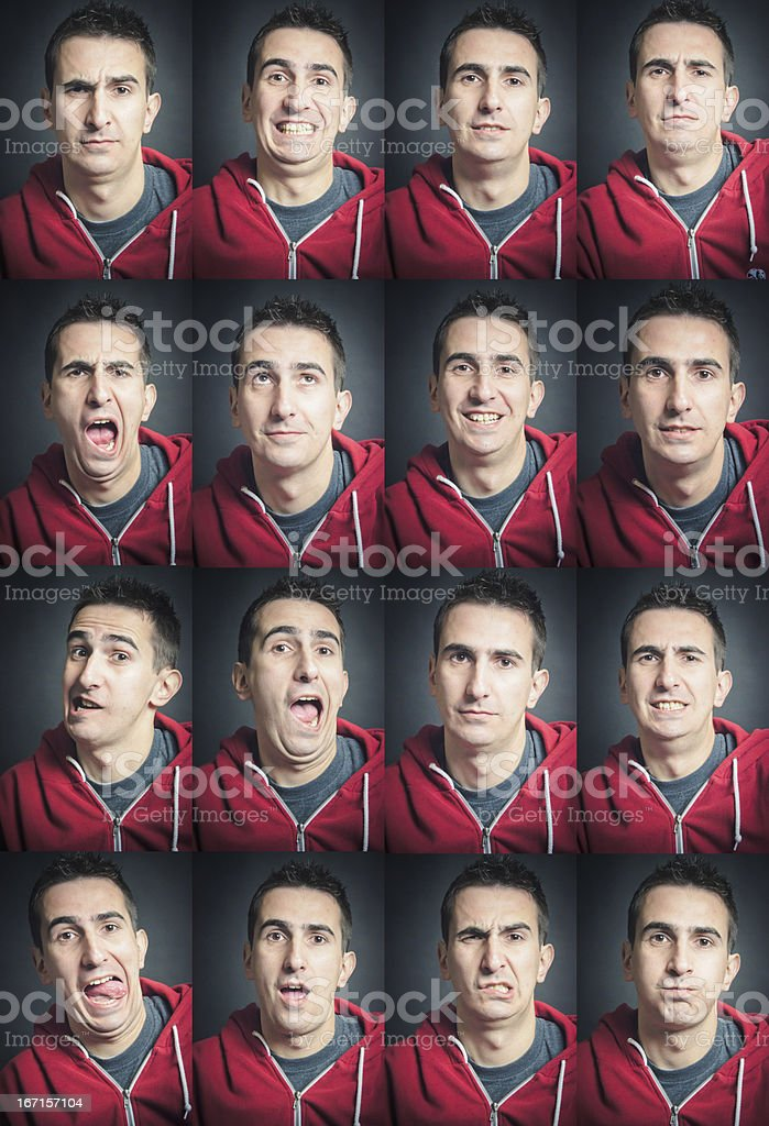 Facial Expression Set Young Man royalty-free stock photo