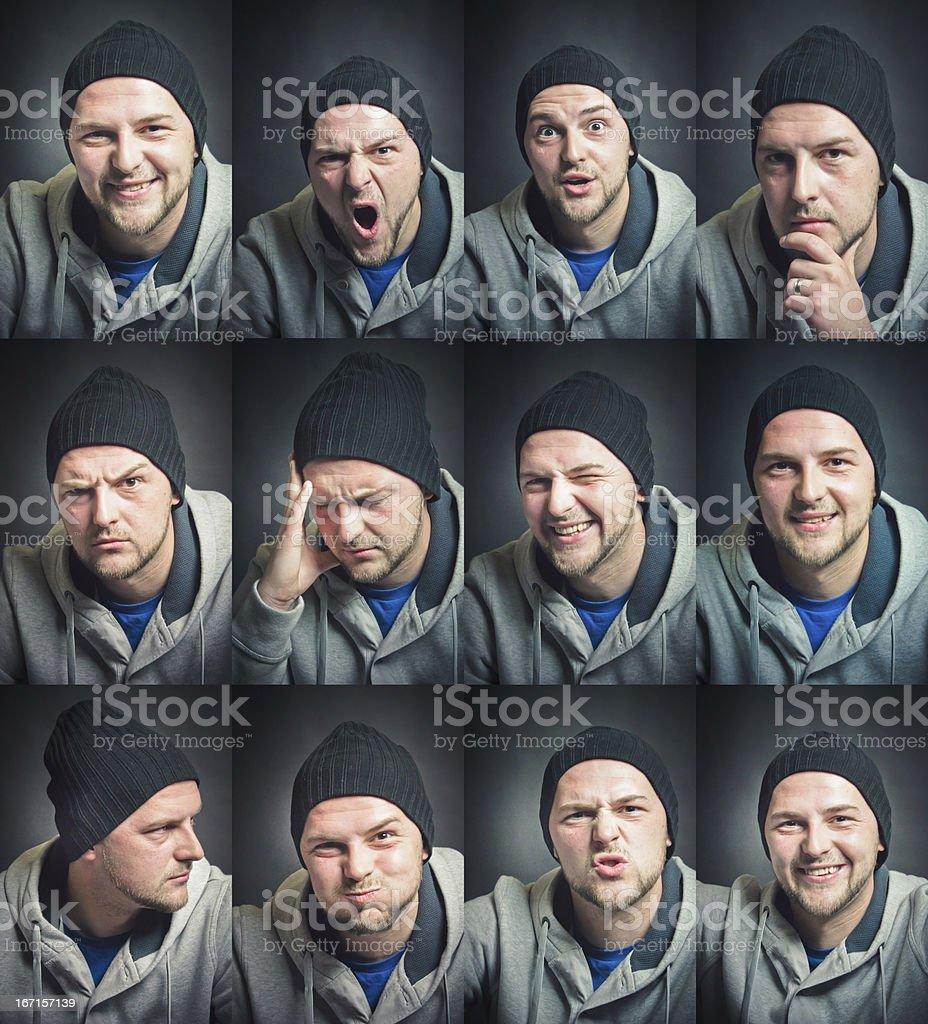 Facial Expression Set Young Man stock photo