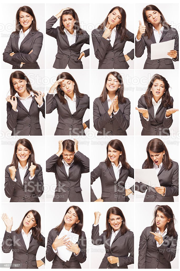 Facial expressions of a beautiful young businesswoman stock photo