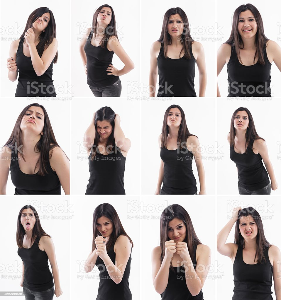 Facial expressions of a beautiful young woman stock photo