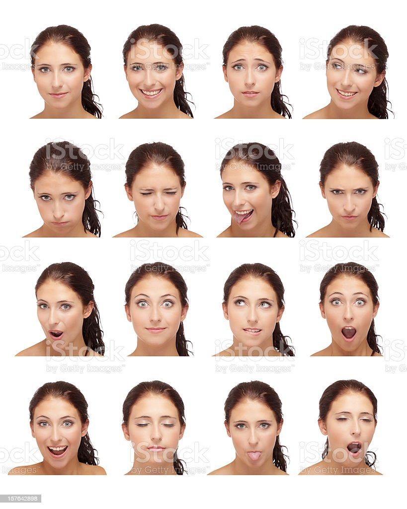 facial expressions of young woman royalty-free stock photo
