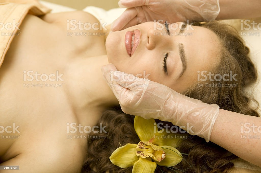 Facial lymphatic massage.XXXL royalty-free stock photo
