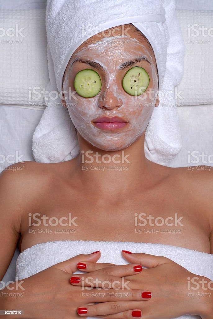 Facial mask and cucumber royalty-free stock photo