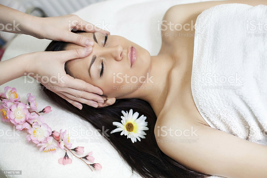 Facial massage in beauty salon. royalty-free stock photo
