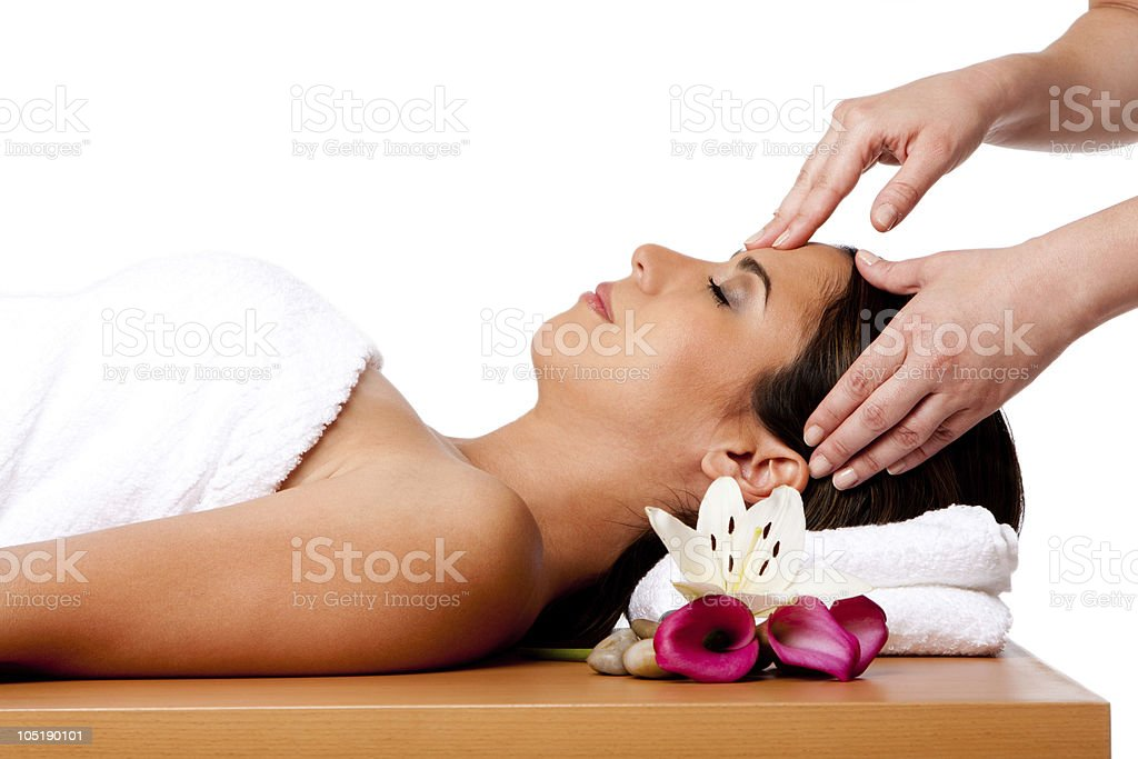 Facial massage in spa royalty-free stock photo