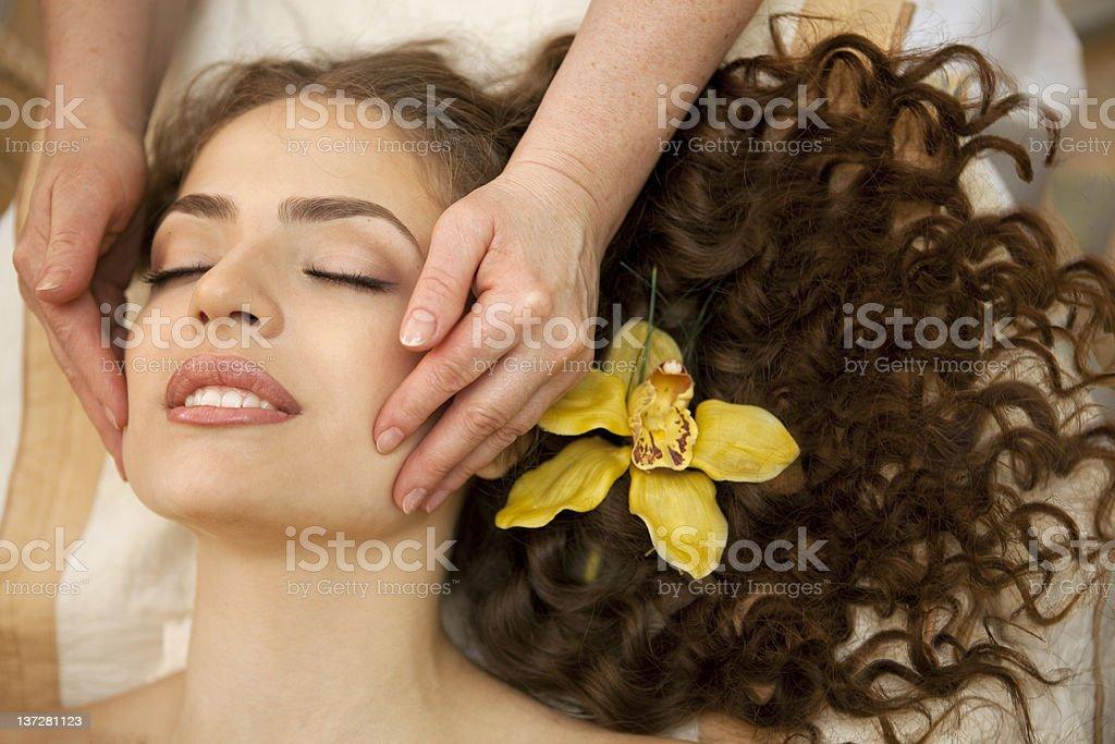 Facial massage.XXXL royalty-free stock photo