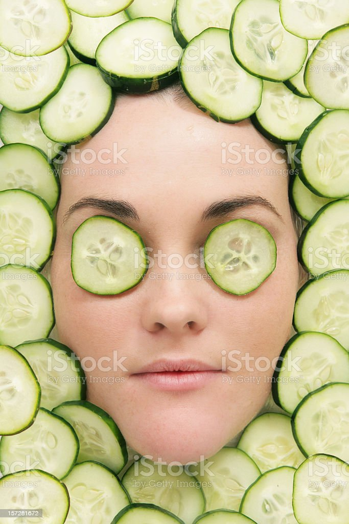 Facial of Cucumbers stock photo