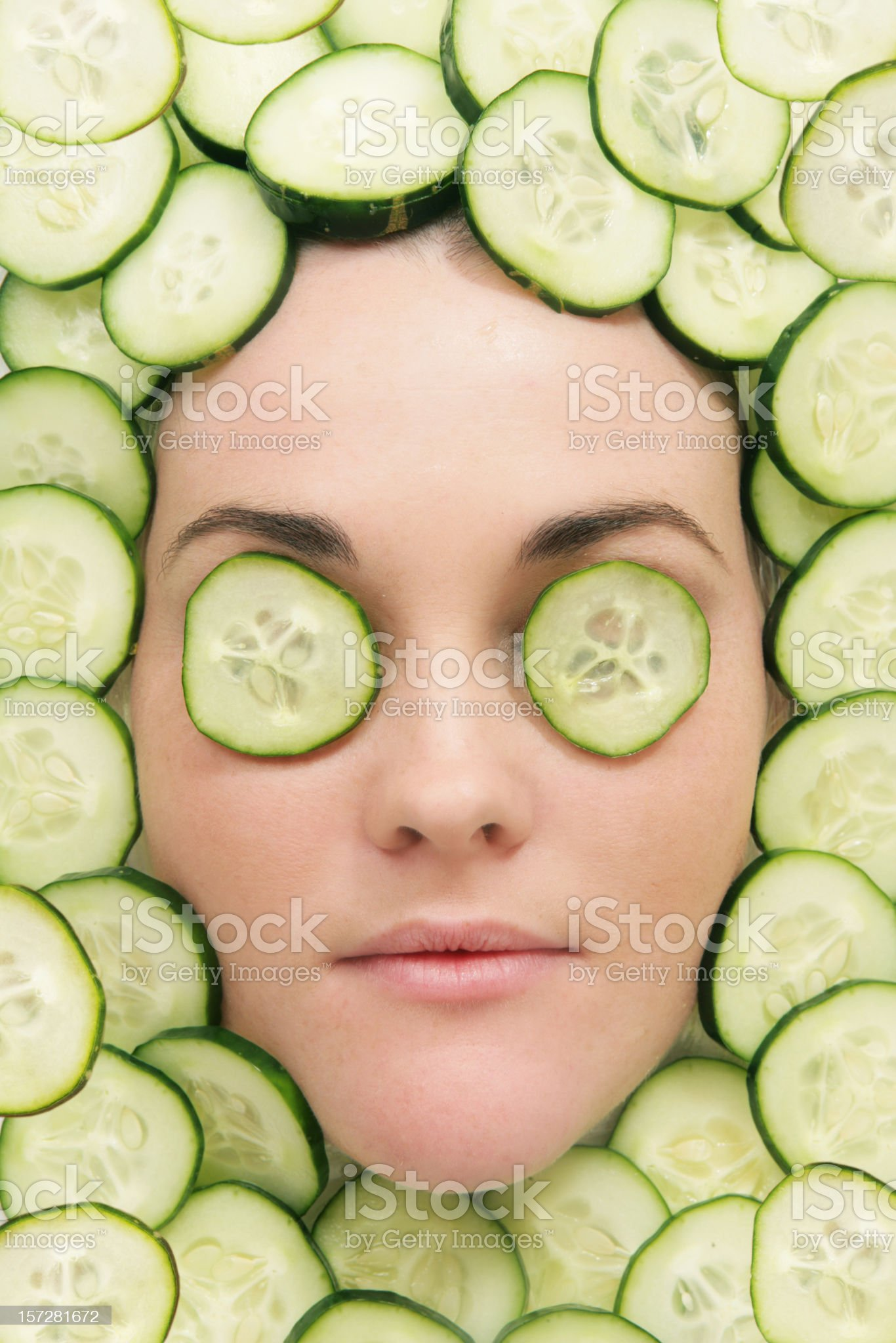 Facial of Cucumbers royalty-free stock photo