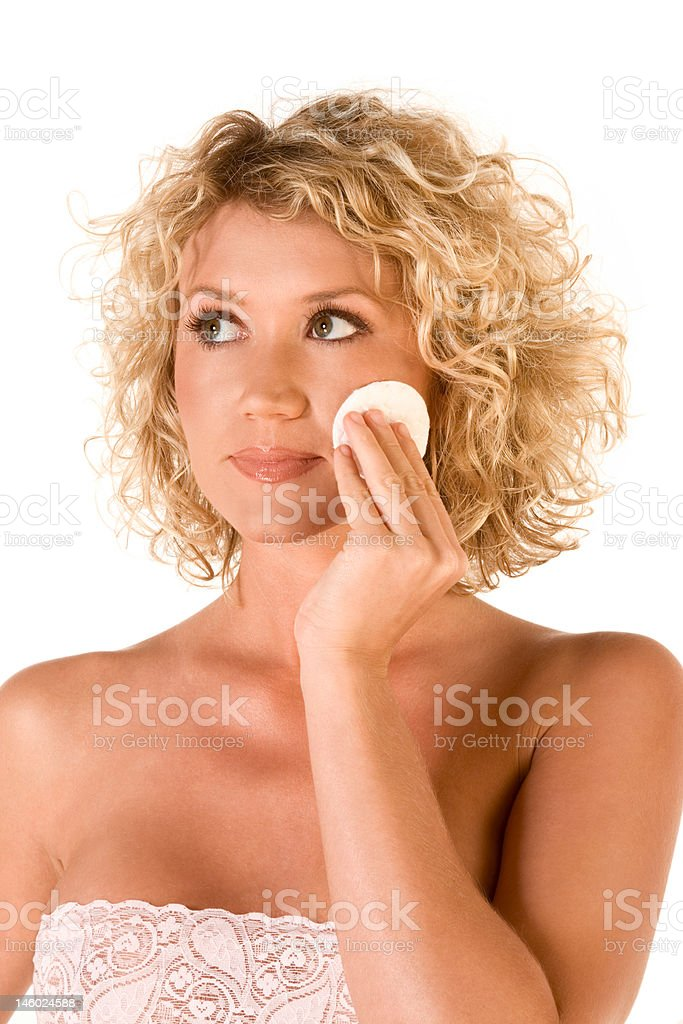 Facial skincare, cleaning make up royalty-free stock photo