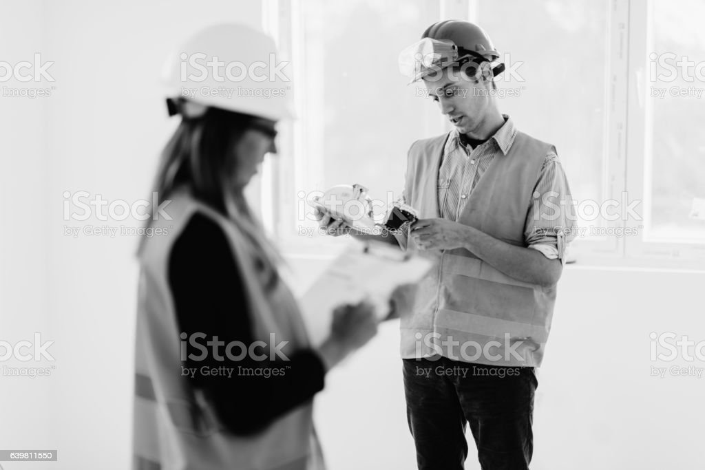 Facility management people at work stock photo