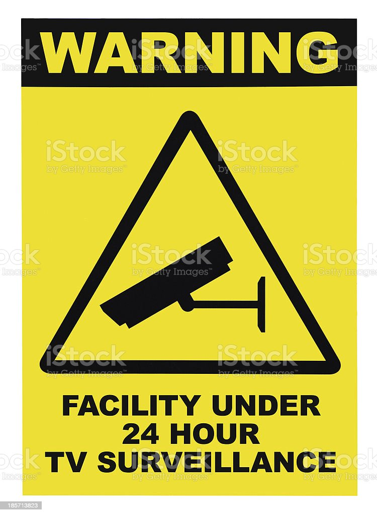 Facility protected, under 24 hour video surveillance text sign, isolated stock photo