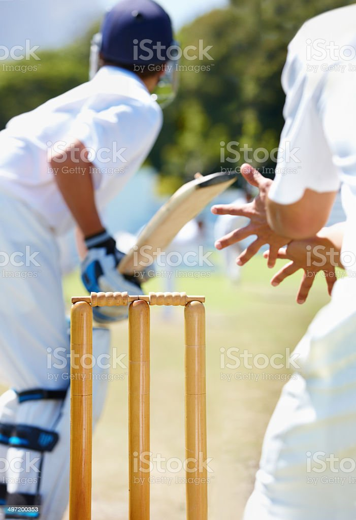 Facing a bowler with the new ball is always tricky stock photo