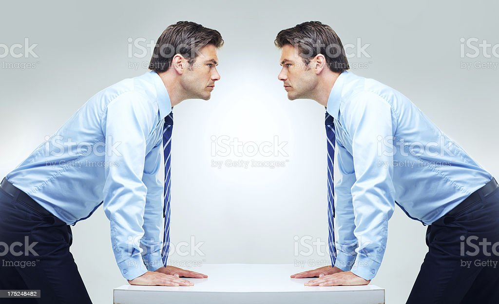 Facing his own problems royalty-free stock photo