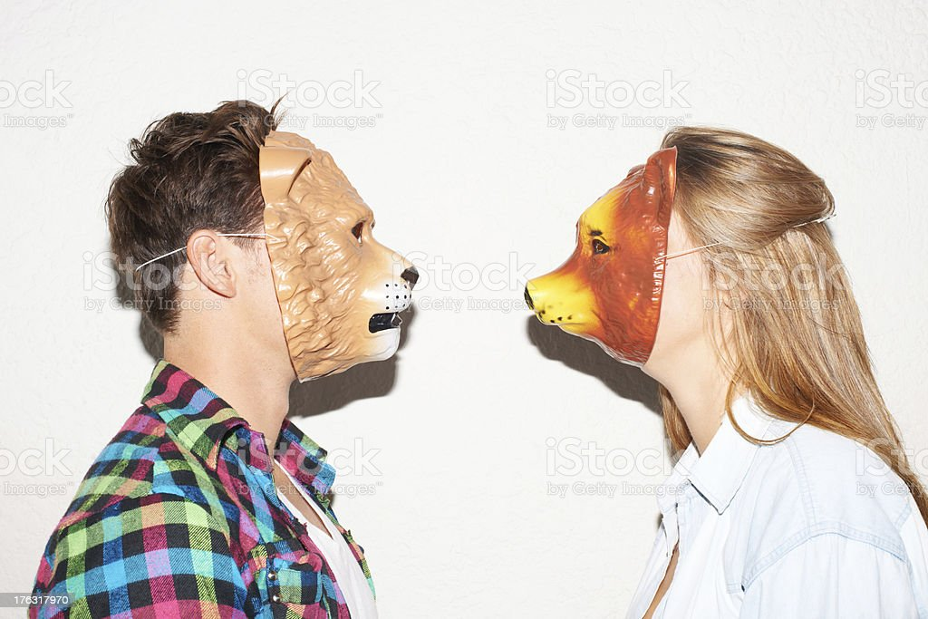 Facing off with animalistic intent stock photo
