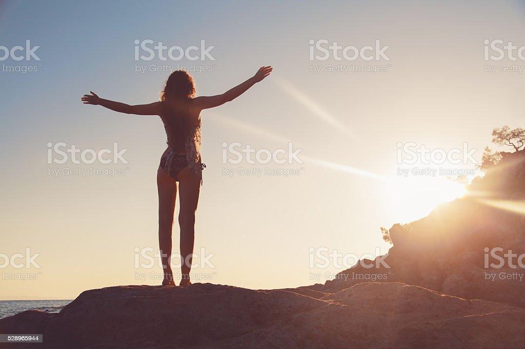Facing The Sun stock photo