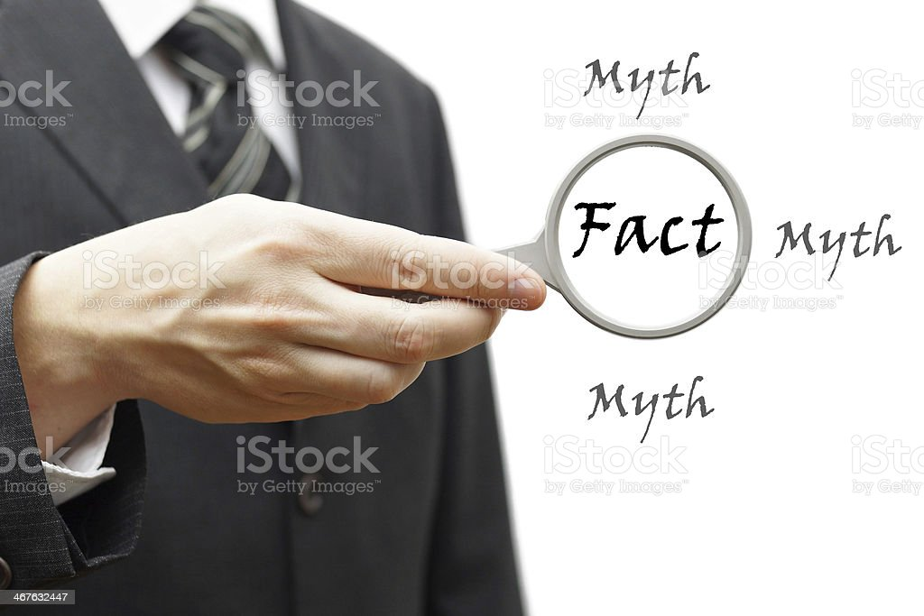 Fact myth concept stock photo