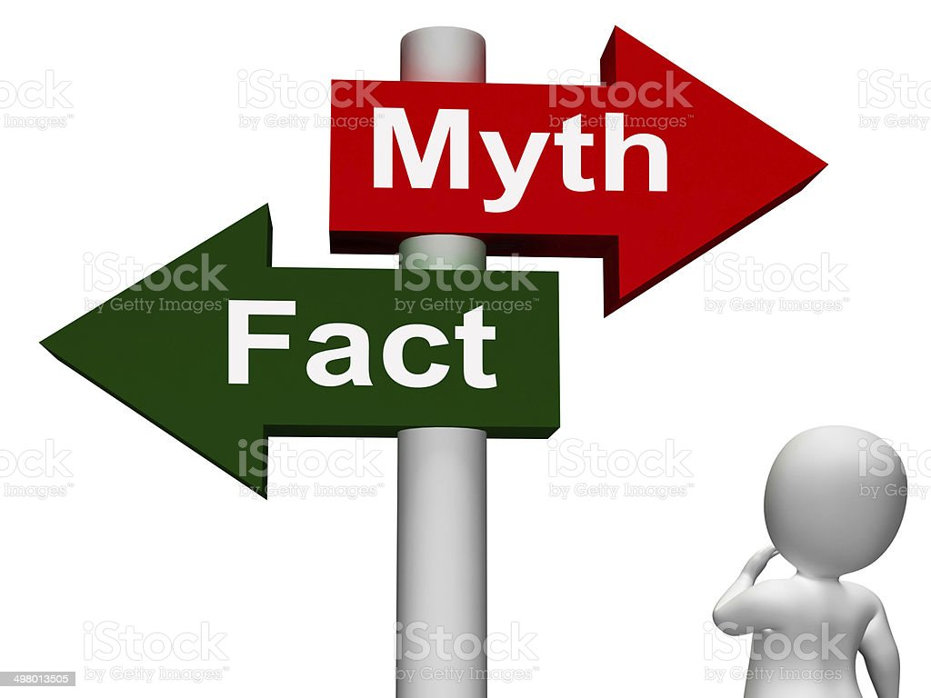 Fact Myth Signpost Shows Facts Or Mythology stock photo