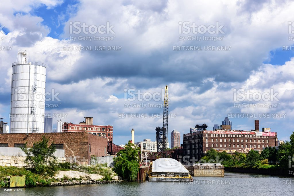 Factories and Warehouses, South Branch of Chicago River stock photo