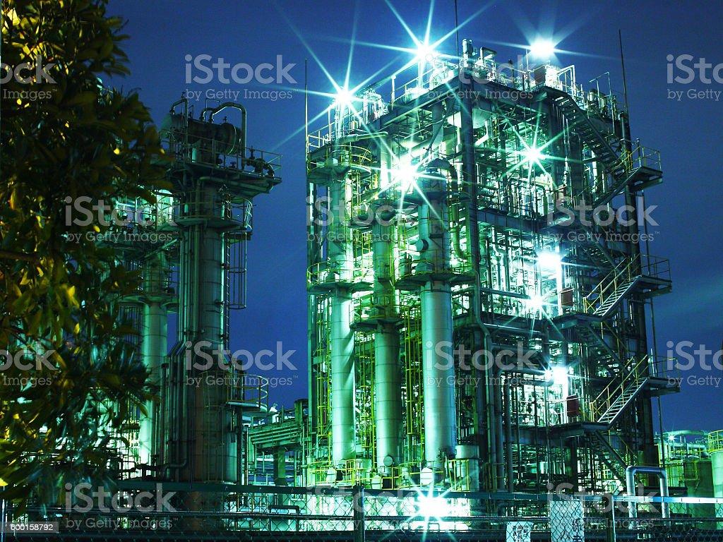 Factories at night in Kawasaki, Kanagawa, Japan stock photo