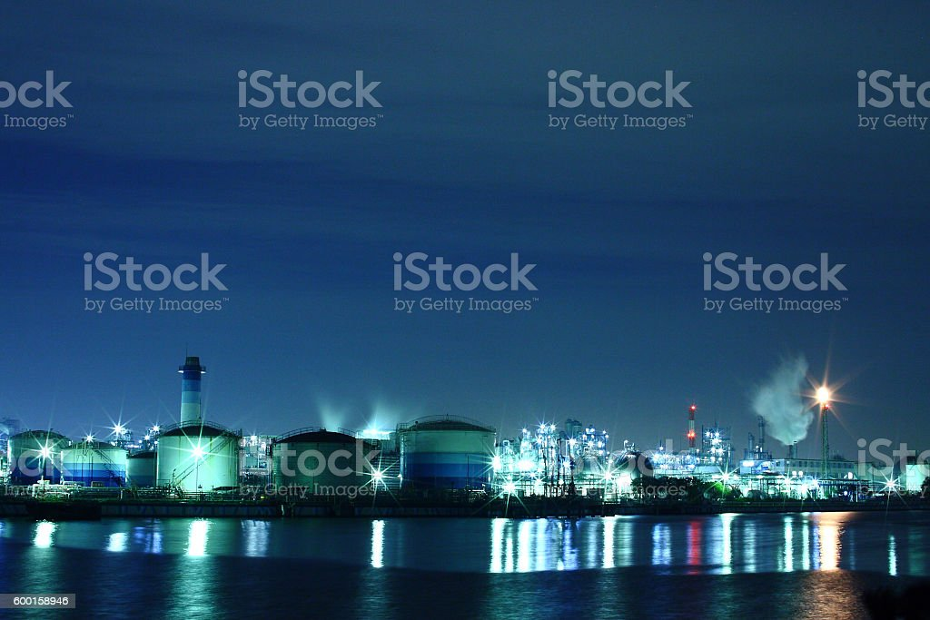 Factories at night in Kawasaki, Kanagawa, Japan stock photo