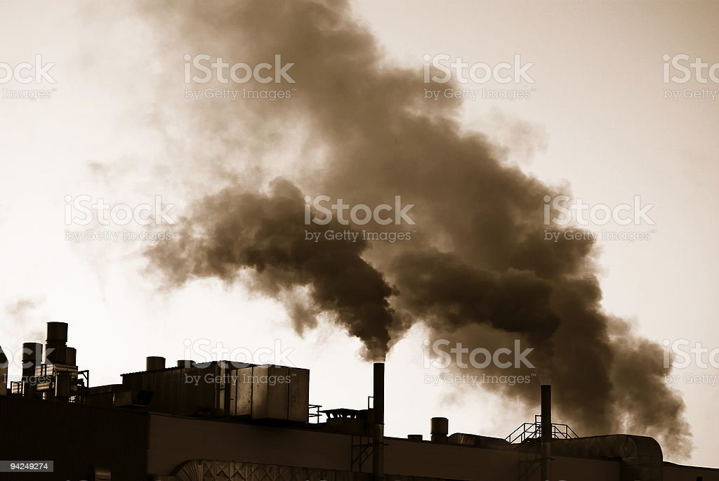 Factories during industrial revolution producing pollution stock photo