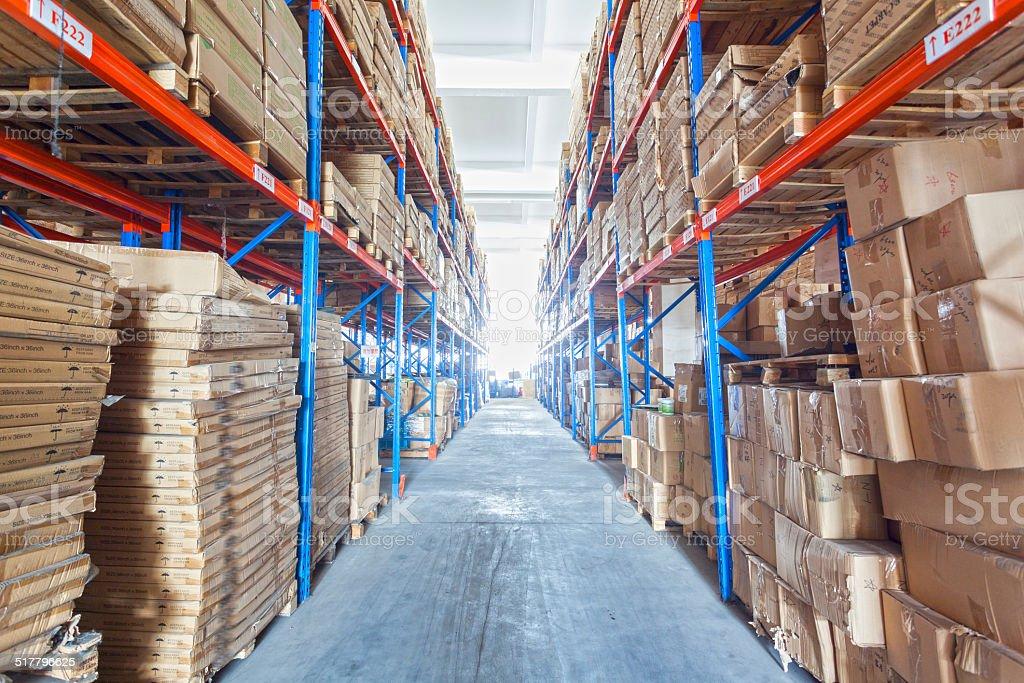 Factories, warehouses, shelves stock photo