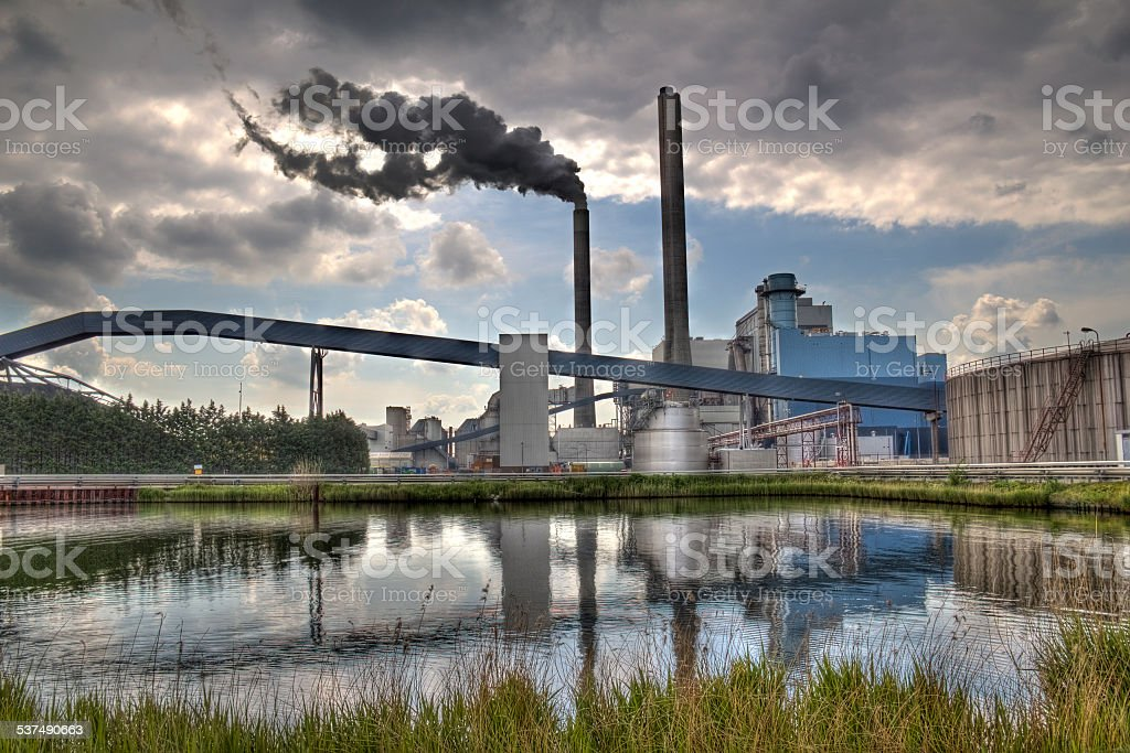 Factory and Smoke stock photo