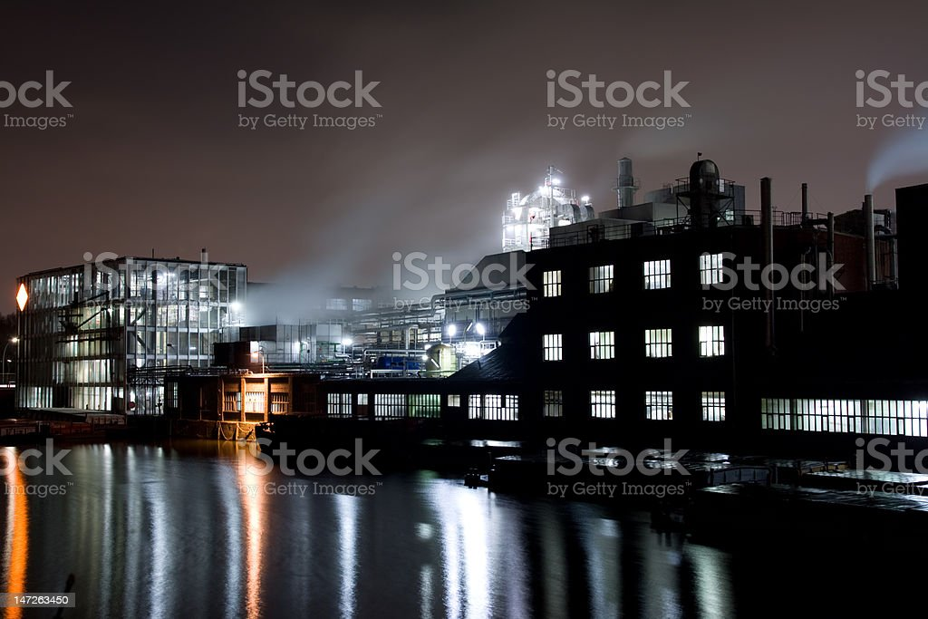 Factory at night royalty-free stock photo