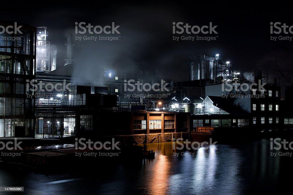 Factory at night royalty-free stock photo