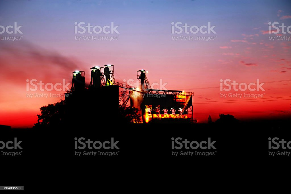 Factory At Night With Copy Space stock photo