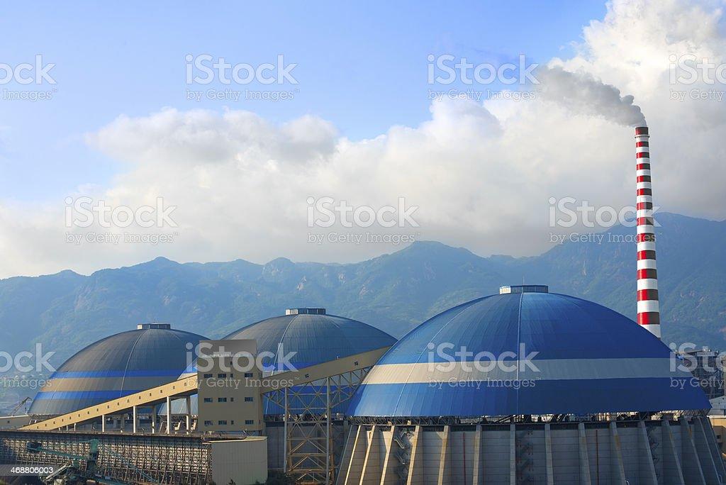 Factory Chimney Emitting Smoke royalty-free stock photo