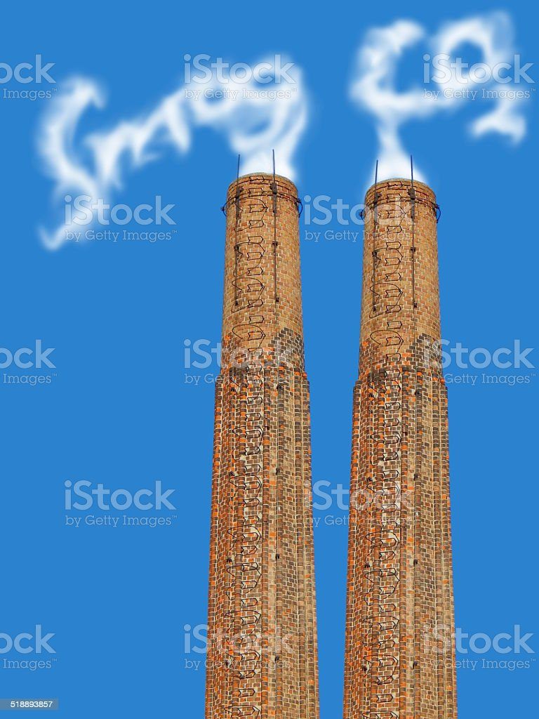factory chimney with symbolic emission royalty-free stock photo