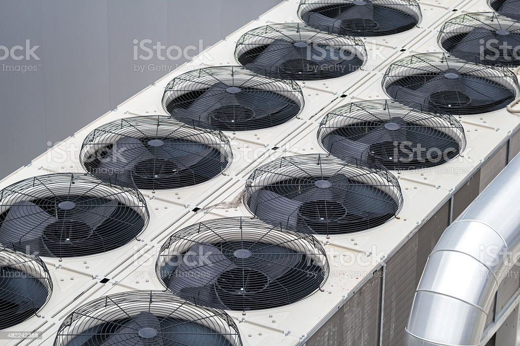 Factory cooling fan stock photo