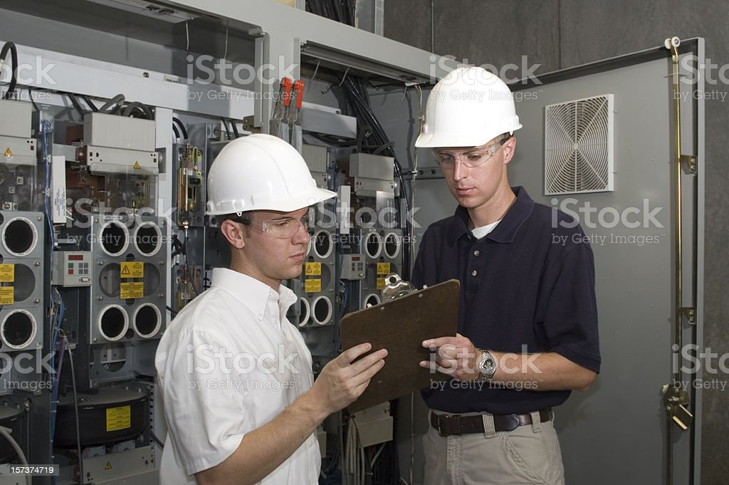 Factory Engineer and Contractor stock photo
